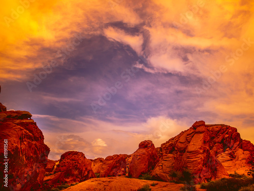 Fotobehang Natuur Park Amazing colors and shape of the Fire Wave rock