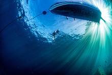 Boat Ship From Underwater Blue...