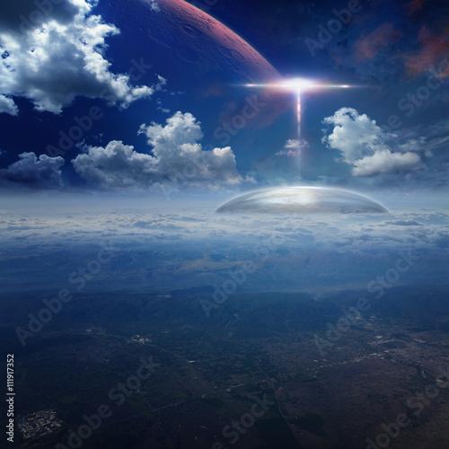 Photo sur Toile UFO Alien base on planet Earth