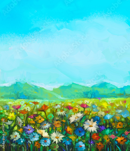 Oil painting white, red, yellow daisy- gerbera flowers, wildflower in fields. Meadow landscape with wild flowers, hill and blue sky background. Hand Paint summer floral Impressionist style