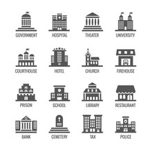 Government, Public Building Vector Icons Set. Building Icon Set Public And Architecture Building Government City Illustration