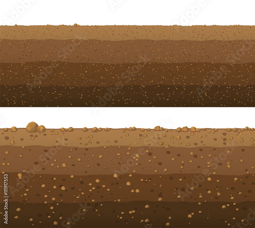 Fotografie, Tablou Underground layers of earth, seamless ground surface design.