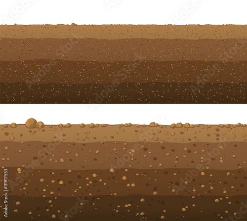 фотография  Underground layers of earth, seamless ground surface design.