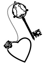 Heart, Rose And Old Key
