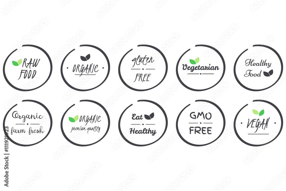 Fototapety, obrazy: vector set of  icons of Organic, Healthy, Vegan, Vegetarian, Raw, GMO, Gluten free Food, grey circle logo symbols on white background