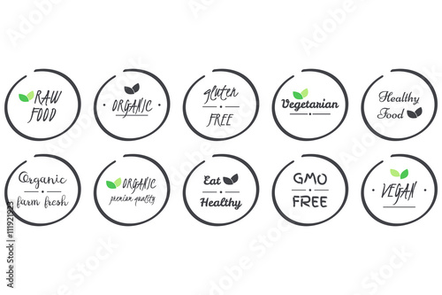 Fotografie, Obraz  vector set of  icons of Organic, Healthy, Vegan, Vegetarian, Raw, GMO, Gluten fr