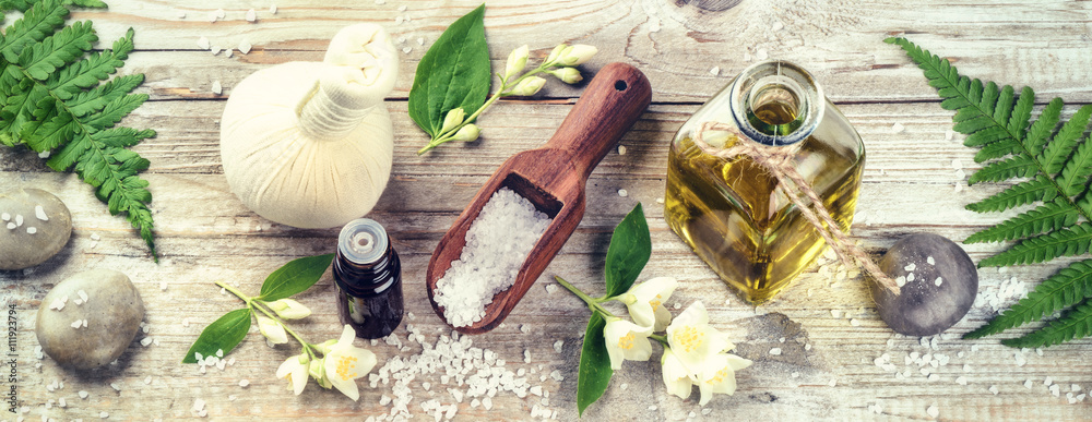 Fototapety, obrazy: Spa setting with jasmine essential oil and flowers. Wellness con