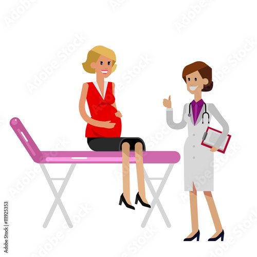 Fotografie, Obraz  Happy pregnant woman having a doctor visit
