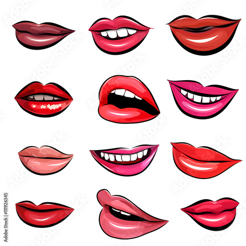 Set of Pop Art Lips on a white background. Vector Poster