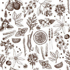 FototapetaVector seamless pattern with hand drawn perfumery and cosmetics ingredient sketch. Vintage background with aromatic plants for high-quality cosmetics and scented industry