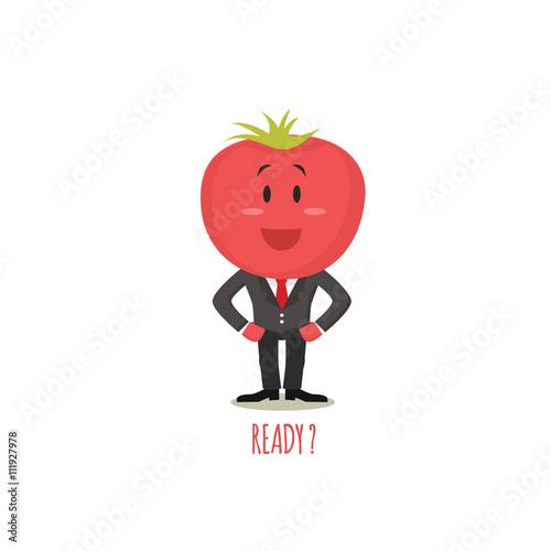 Fotografie, Obraz  Cartoon tomato with eyes and smiling. Funny tomato.