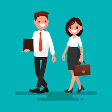 Two Business Partner Go Together. Vector Illustration