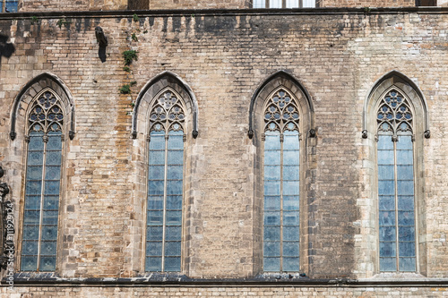 Fotografia, Obraz  Facade of the Basilica Santa Maria del Mar Catalan Gothic style in Barcelona, Ca