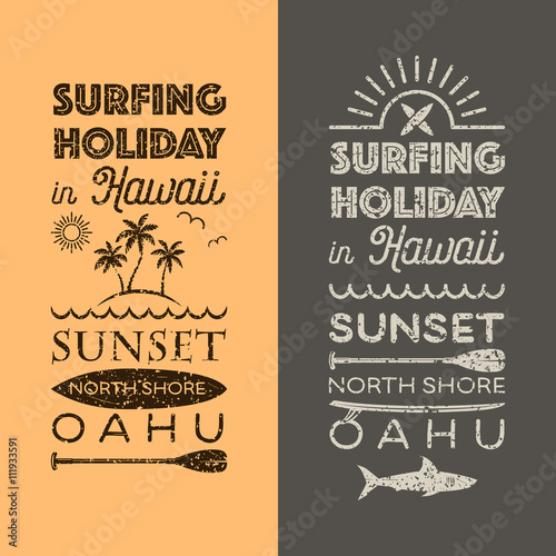 Fototapety, obrazy: Surfing holiday in Hawaii emblems