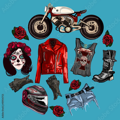 Printed kitchen splashbacks Watercolor skull Motorcycle fashion Biker digital watercolor pictures