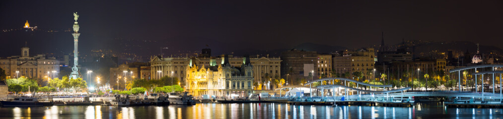 Obraz Panorama of Port at Barcelona in night