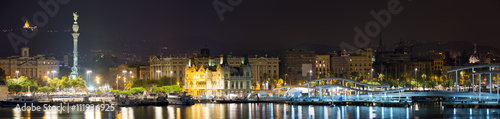 Panorama of Port  at Barcelona in night - 111936925