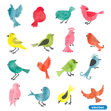 Watercolor Birds Set. Collecti...