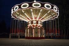 Carousel In Night Park