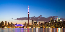 View Of Toronto Canada Cityscape During Sunset