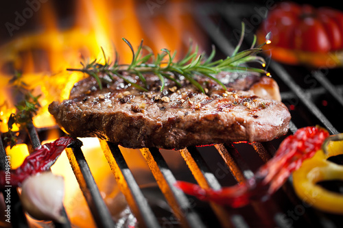 In de dag Grill / Barbecue Steak vom Grill