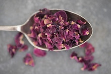 Dried Rose Petals On Spoon