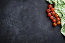 Ripe Cherry Tomatoes Over Stone