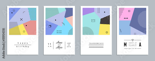 Abstract trendy templates with different geometric shapes. Modern cards. Vector