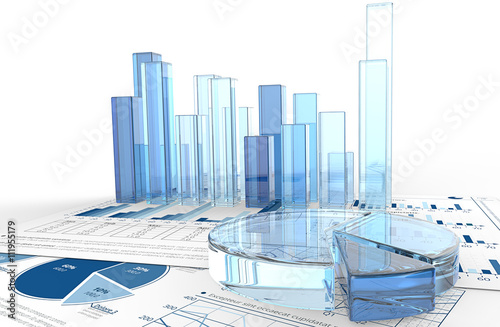 Growth. Macro view of 3D render of financial documents with graphs and pie charts of glass.
