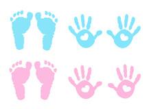 Baby Girl And Baby Boy Handprint And Footprint Illustration