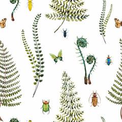 FototapetaWatercolor fern pattern