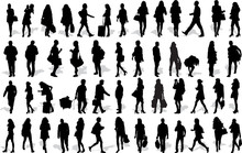 Set Of 50 Vector's Silhouettes Of People In Action