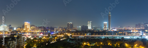Panoramic view of central Cairo skyline at night
