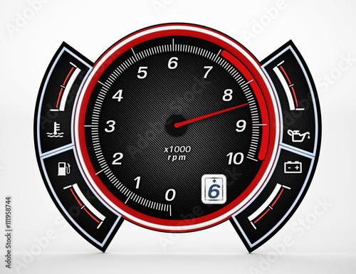 Photo  Engine RPM gauge. 3D illustration.