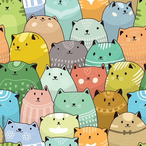 Deurstickers Kunstmatig Cats seamless pattern