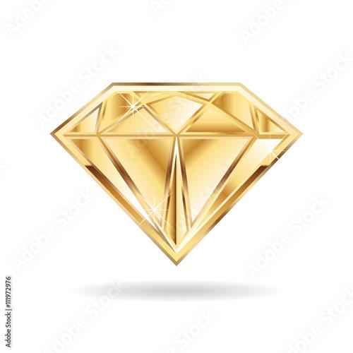 Cuadros en Lienzo Gold wedding diamond  logo. Vector graphic design