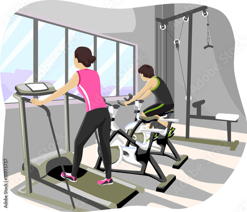 Teen couple gym workout buy this stock vector and explore