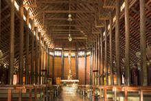 Inside Of Ban Song Yae Church, The Biggest Catholic Wood Church