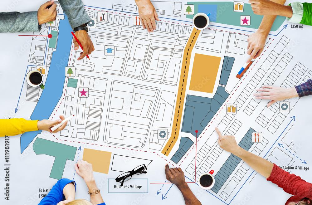 Fototapeta City Urban Blueprint Plan Infrastacture Concept