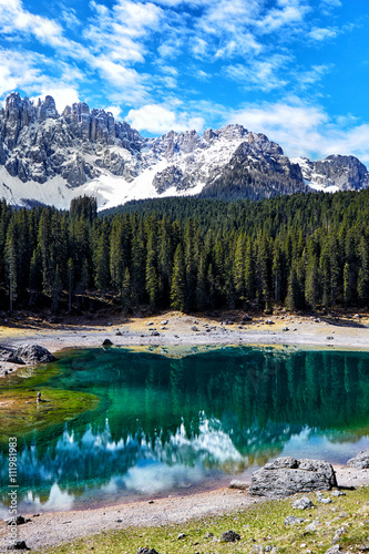 Perfectly emerald lake in Dolomites