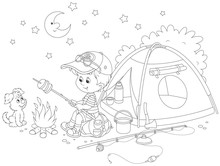 Little Boy Scout Roasting Brea...