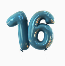 Sweet Sixteen - Number 16. Balloon Font. 3d Rendering Isolated On White Background.