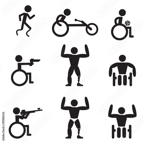 Photo  Disable Handicap Sport icons, runner, bodybuilding, shooting, ru