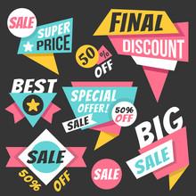Colorful Sale Banners, Discount Paper Banners, Origami Badges Set, Flyers, Labels Set. Trendy Flat Design Graphic Elements. Vector Illustration