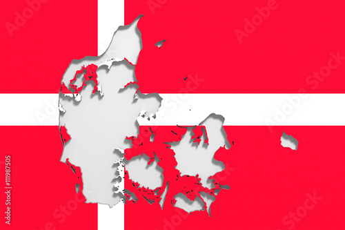 Photo  Silhouette of Denmark map with flag