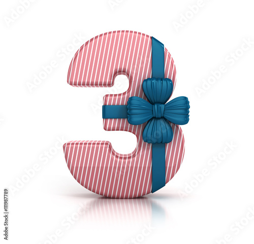 Number Three 3 Decorated With Ribbon Isolated On White