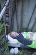 Girl sleeping outside
