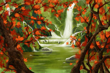 Watercolor Style Digital Artwork: Waterfall Forest With Red Leaves Tree. Realistic Fantastic Cartoon Style Character, Background, Wallpaper, Story, Card Design