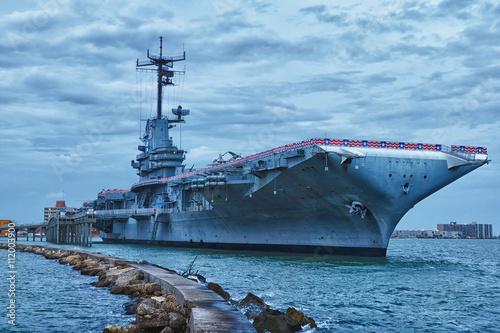 Photo  CORPUS CHRISTI, TEXAS, USA - SEPTEMBER 21, 2013:Aircraft carrier USS Lexington dockt in Corpus Christi on September 21, 2013 year