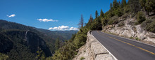 Panoramic Of Road Going Into Mountain Tunnel